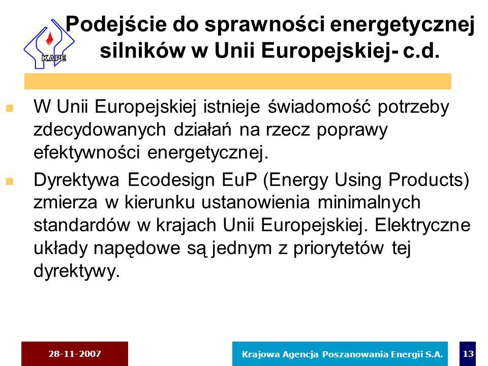 28-11-2007 Krajowa Agencja Poszanowania Energii S.A. 13 Podejście do sprawności energetycznej silników w Unii Europejskiej- c.d. n W Unii Europejskiej