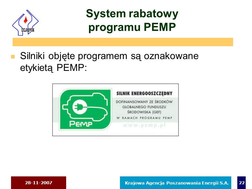 28-11-2007 Krajowa Agencja Poszanowania Energii S.A. 22 System rabatowy programu PEMP n Silniki objęte programem są oznakowane etykietą PEMP: