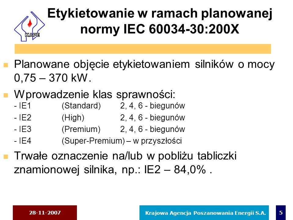 28-11-2007 Krajowa Agencja Poszanowania Energii S.A. 5 Etykietowanie w ramach planowanej normy IEC 60034-30:200X n Planowane objęcie etykietowaniem si