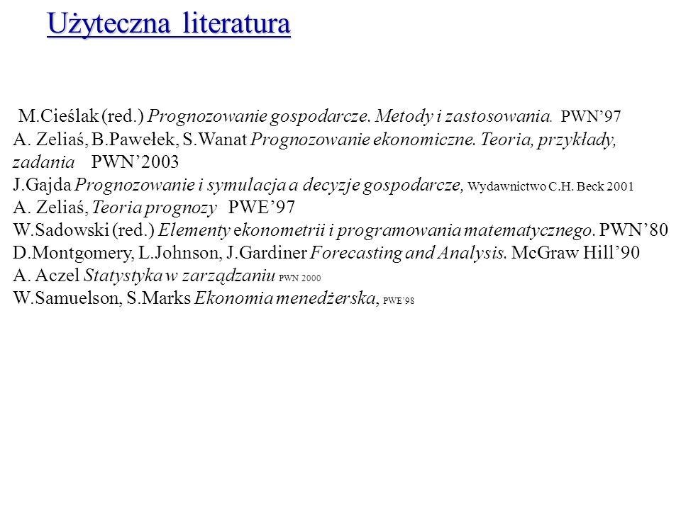 M.Cieślak (red.) Prognozowanie gospodarcze.Metody i zastosowania.