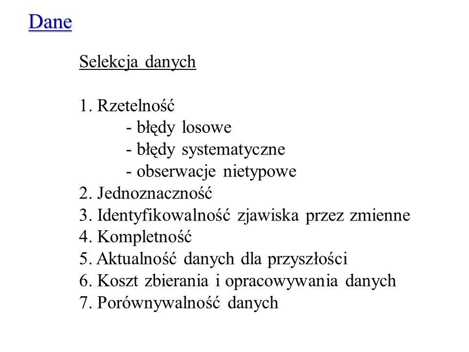 Selekcja danych 1.Rzetelność - błędy losowe - błędy systematyczne - obserwacje nietypowe 2.