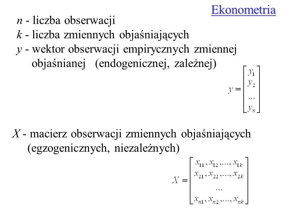 n - liczba obserwacji k - liczba zmiennych objaśniających y - wektor obserwacji empirycznych zmiennej objaśnianej (endogenicznej, zależnej) X - macier