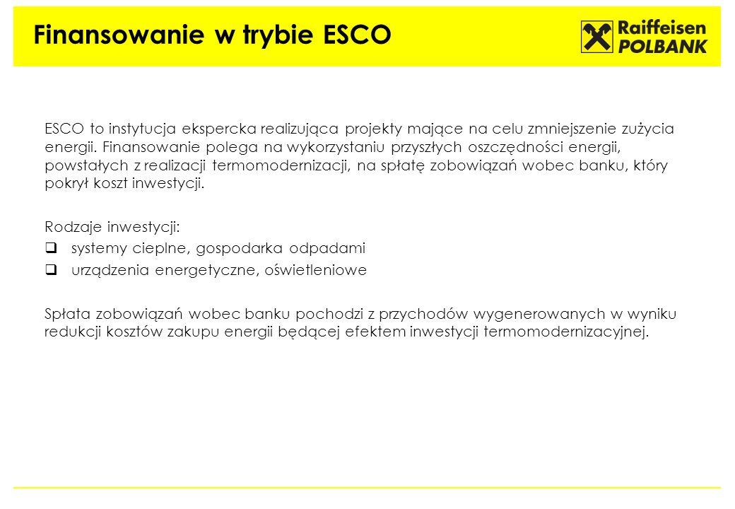 Finansowanie w trybie ESCO ESCO to instytucja ekspercka realizująca projekty mające na celu zmniejszenie zużycia energii. Finansowanie polega na wykor