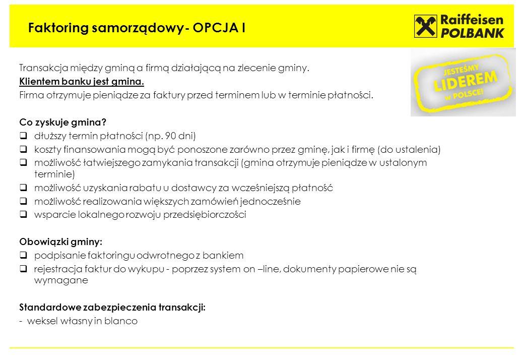 Faktoring samorządowy- OPCJA I Transakcja między gminą a firmą działającą na zlecenie gminy. Klientem banku jest gmina. Firma otrzymuje pieniądze za f