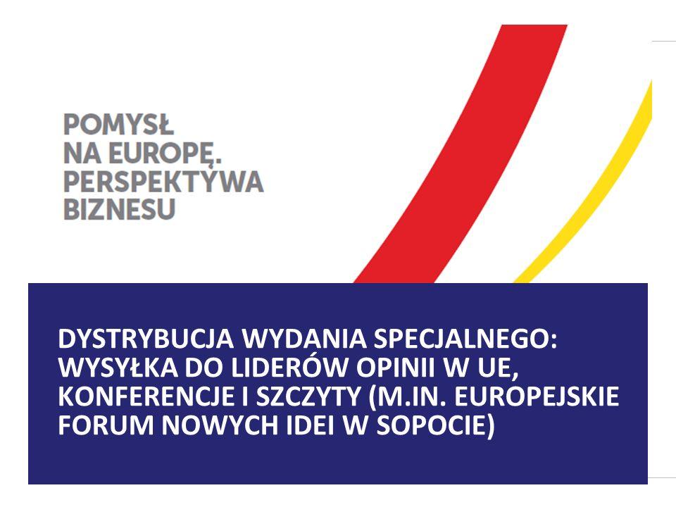DYSTRYBUCJA WYDANIA SPECJALNEGO: WYSYŁKA DO LIDERÓW OPINII W UE, KONFERENCJE I SZCZYTY (M.IN.