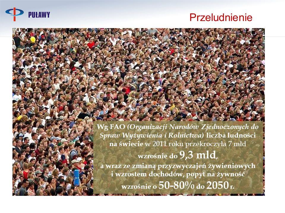 Przeludnienie Wg FAO (Organizacji Narodów Zjednoczonych do Spraw Wyżywienia i Rolnictwa) liczba ludności na świecie w 2011 roku przekroczyła 7 mld wzr