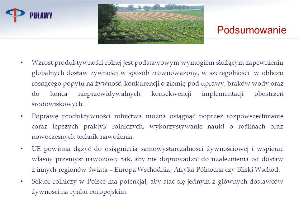 Podsumowanie Wzrost produktywności rolnej jest podstawowym wymogiem służącym zapewnieniu globalnych dostaw żywności w sposób zrównoważony, w szczególn