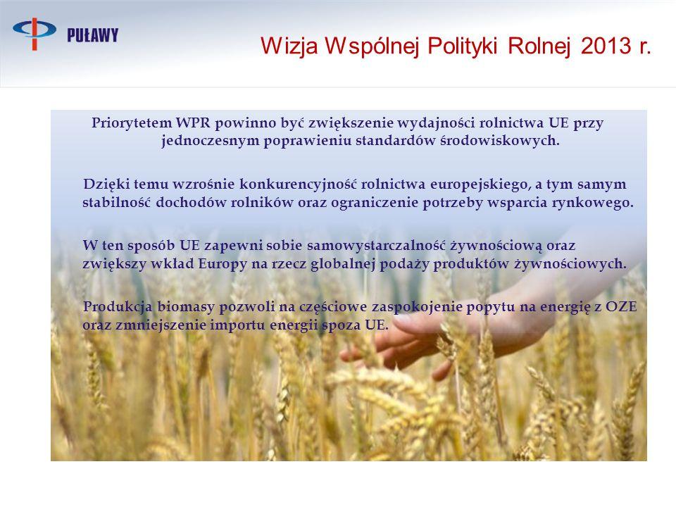 Priorytetem WPR powinno być zwiększenie wydajności rolnictwa UE przy jednoczesnym poprawieniu standardów środowiskowych. Dzięki temu wzrośnie konkuren