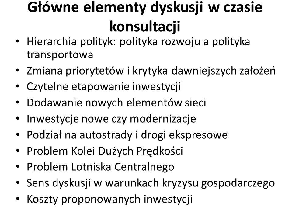 Główne elementy dyskusji w czasie konsultacji Hierarchia polityk: polityka rozwoju a polityka transportowa Zmiana priorytetów i krytyka dawniejszych z