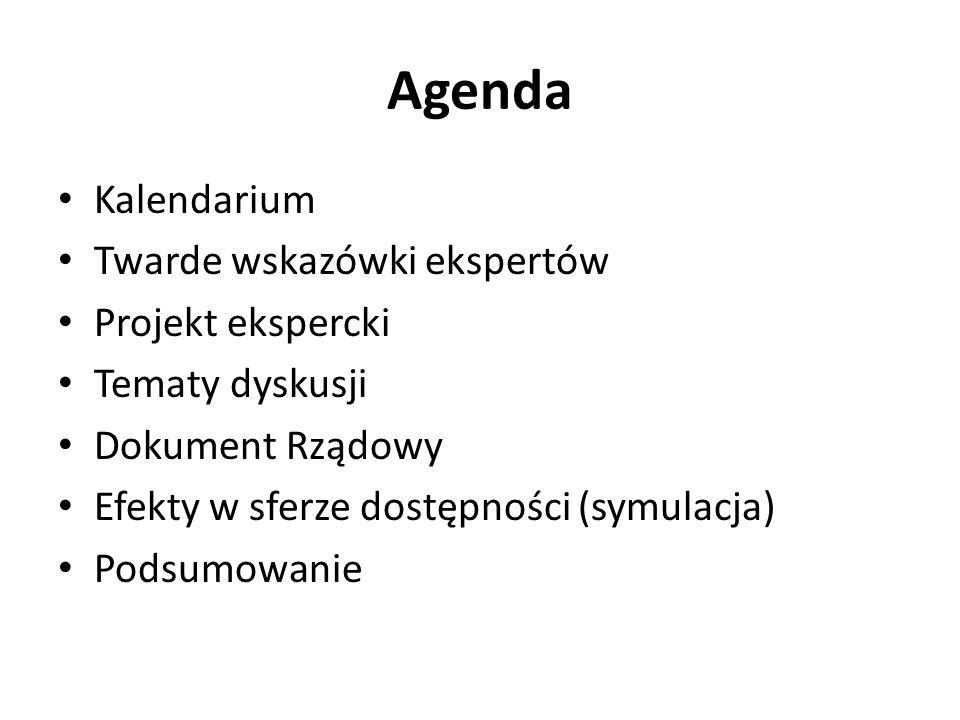 Agenda Kalendarium Twarde wskazówki ekspertów Projekt ekspercki Tematy dyskusji Dokument Rządowy Efekty w sferze dostępności (symulacja) Podsumowanie