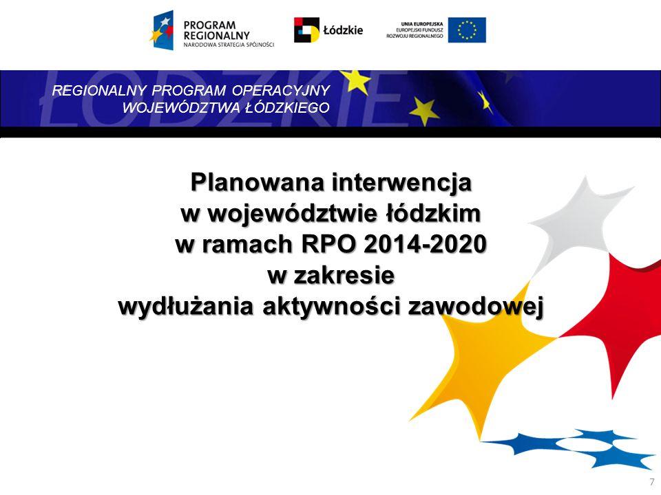 REGIONALNY PROGRAM OPERACYJNY WOJEWÓDZTWA ŁÓDZKIEGO 7 Planowana interwencja w województwie łódzkim w ramach RPO 2014-2020 w zakresie wydłużania aktywn