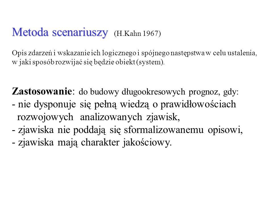 Metoda scenariuszy Metoda scenariuszy (H.Kahn 1967) Opis zdarzeń i wskazanie ich logicznego i spójnego następstwa w celu ustalenia, w jaki sposób rozw