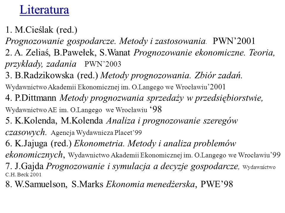 1. M.Cieślak (red.) Prognozowanie gospodarcze. Metody i zastosowania. PWN2001 2. A. Zeliaś, B.Pawełek, S.Wanat Prognozowanie ekonomiczne. Teoria, przy