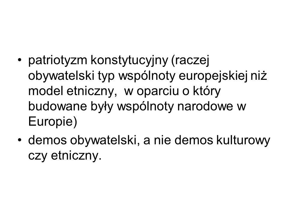 patriotyzm konstytucyjny (raczej obywatelski typ wspólnoty europejskiej niż model etniczny, w oparciu o który budowane były wspólnoty narodowe w Europie) demos obywatelski, a nie demos kulturowy czy etniczny.
