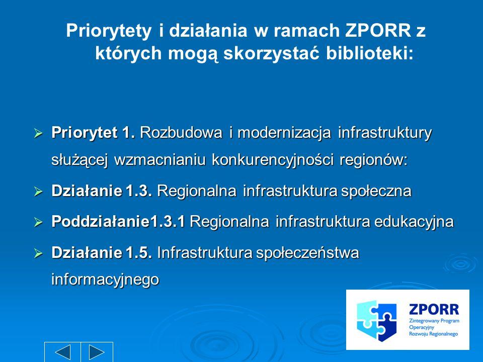 Priorytety i działania w ramach ZPORR z których mogą skorzystać biblioteki: Priorytet 1. Rozbudowa i modernizacja infrastruktury służącej wzmacnianiu