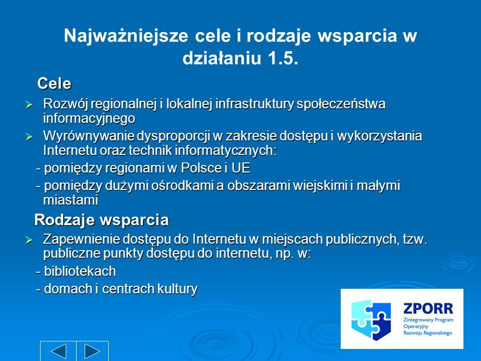 Najważniejsze cele i rodzaje wsparcia w działaniu 1.5. Cele Cele Rozwój regionalnej i lokalnej infrastruktury społeczeństwa informacyjnego Rozwój regi