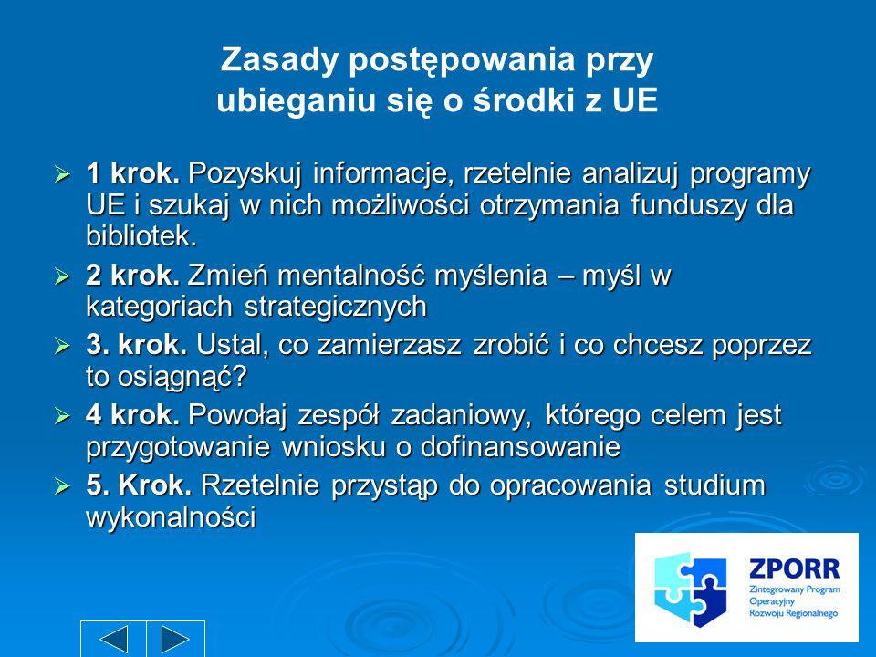 1 krok. Pozyskuj informacje, rzetelnie analizuj programy UE i szukaj w nich możliwości otrzymania funduszy dla bibliotek. 1 krok. Pozyskuj informacje,