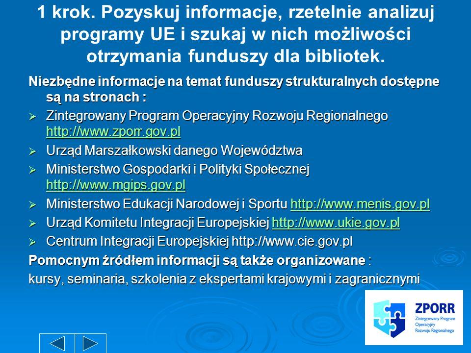 1 krok. Pozyskuj informacje, rzetelnie analizuj programy UE i szukaj w nich możliwości otrzymania funduszy dla bibliotek. Niezbędne informacje na tema