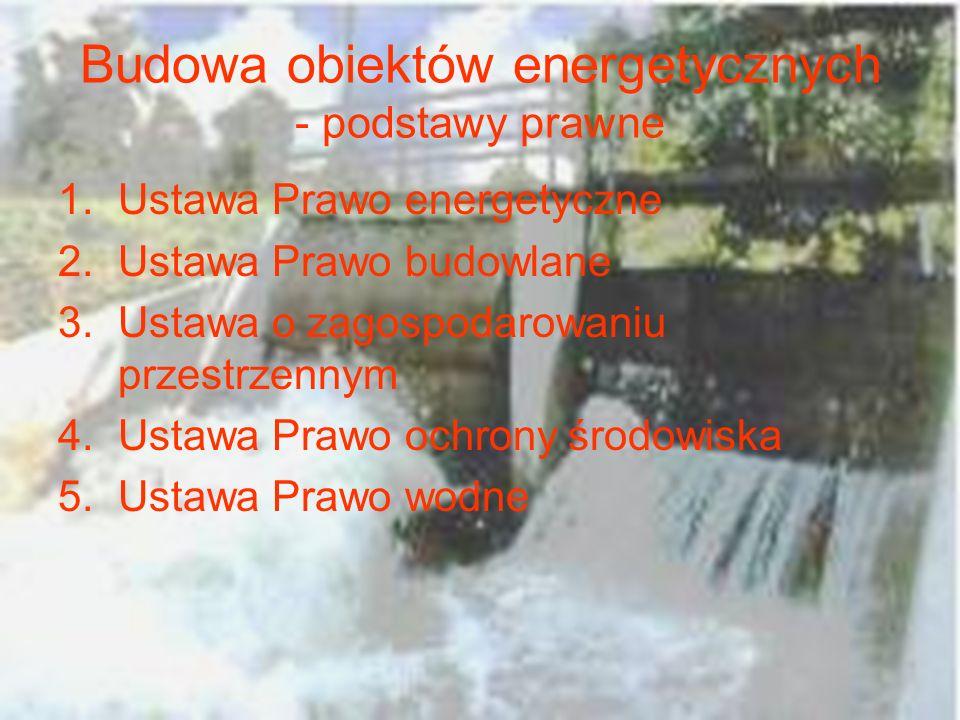 Budowa obiektów energetycznych - podstawy prawne 1.Ustawa Prawo energetyczne 2.Ustawa Prawo budowlane 3.Ustawa o zagospodarowaniu przestrzennym 4.Usta