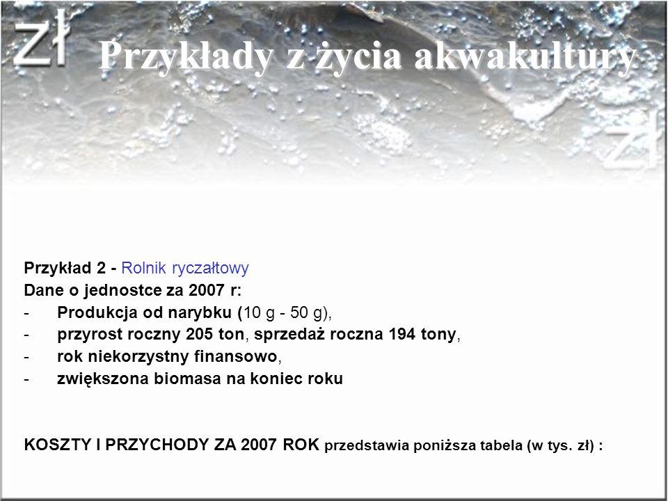 Przykłady z życia akwakultury Przykład 1 – Ogólny - Założenie: Sprzedaż handlówki 100 ton, cena uzyskana netto 7,00 zł/kg SPRZEDAJĄCYM RYCZAŁTOWIEC Dl