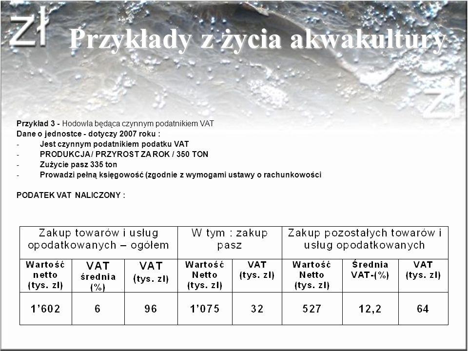 SPRZEDAJĄCYM RYCZAŁTOWIEC Dla: VATOWCA Przykłady z życia akwakultury Przykład 2 – Wyliczenia : Rozliczenie podatku u Vatowca Razem podatek VAT : - NAL