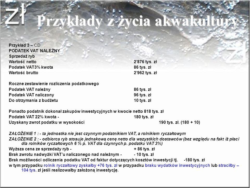 SPRZEDAJĄCYM RYCZAŁTOWIEC Dla: VATOWCA Przykłady z życia akwakultury Przykład 3 - Hodowla będąca czynnym podatnikiem VAT Dane o jednostce - dotyczy 20