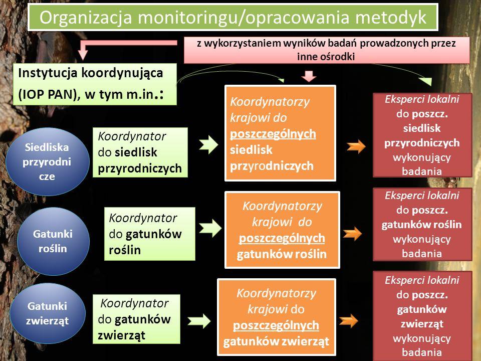 Krajowy Monitoring gatunków i siedlisk przyrodniczych Skala i główne wyniki projektu Dotychczas 2006-2011 (pierwsze badania monitoringowe) 60 typów siedlisk przyrodniczych 60 gatunków roślin 83 gatunków zwierząt Razem na 8 000 stanowisk badawczych na terenie całej Polski (niektóre gatunki zwłaszcza zwierząt tylko na niektórych obszarach (koszty) Metodyki 9 tomów przewodników metodycznych (w PDF pod 2 adresami: http://www.gios.gov.pl/siedliska/publikacje) http://www.gios.gov.pl/siedliska/publikacje http://www.gios.gov.pl/artykuly/159/ Publikacje-dot-monitoringu-przyrody Dotychczas 2006-2011 (pierwsze badania monitoringowe) 60 typów siedlisk przyrodniczych 60 gatunków roślin 83 gatunków zwierząt Razem na 8 000 stanowisk badawczych na terenie całej Polski (niektóre gatunki zwłaszcza zwierząt tylko na niektórych obszarach (koszty) Metodyki 9 tomów przewodników metodycznych (w PDF pod 2 adresami: http://www.gios.gov.pl/siedliska/publikacje) http://www.gios.gov.pl/siedliska/publikacje http://www.gios.gov.pl/artykuly/159/ Publikacje-dot-monitoringu-przyrody