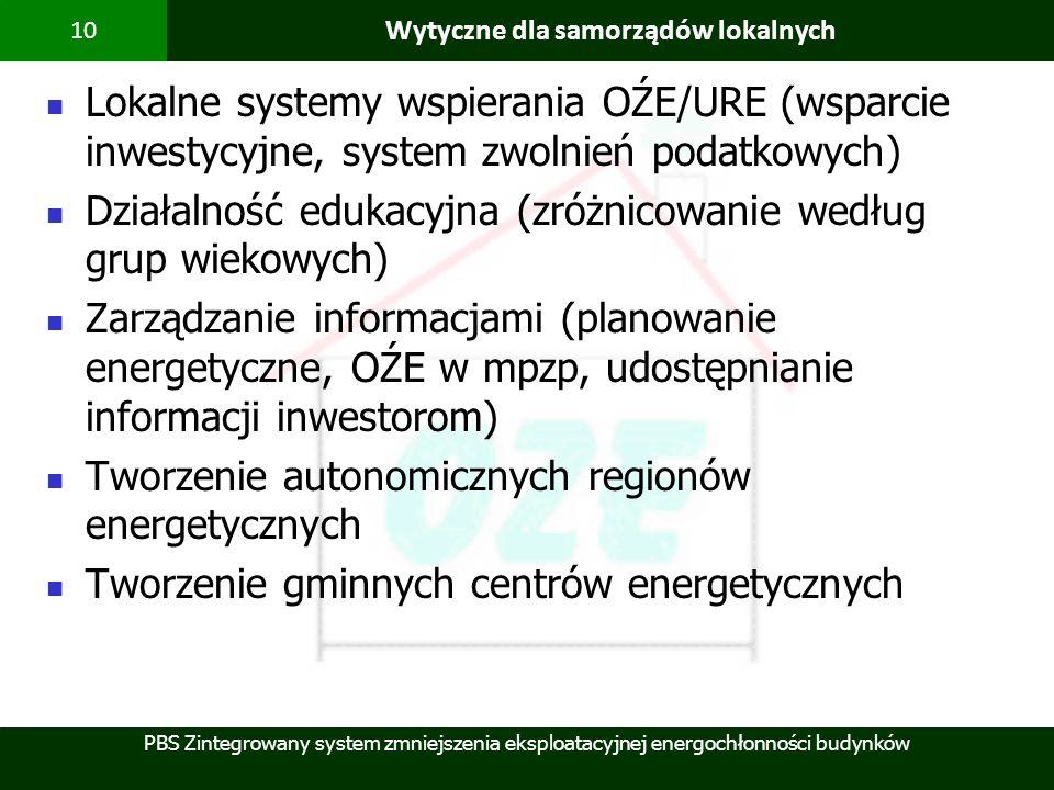 PBS Zintegrowany system zmniejszenia eksploatacyjnej energochłonności budynków 10 Wytyczne dla samorządów lokalnych Lokalne systemy wspierania OŹE/URE