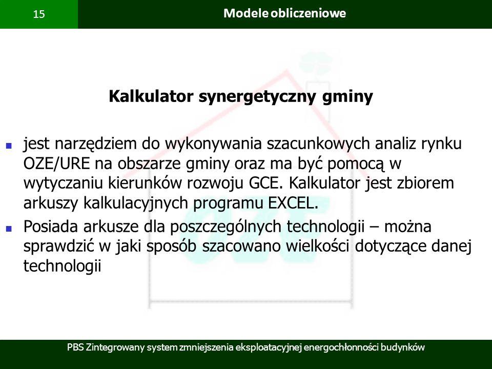 PBS Zintegrowany system zmniejszenia eksploatacyjnej energochłonności budynków 15 Modele obliczeniowe Kalkulator synergetyczny gminy jest narzędziem d