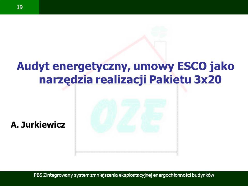 PBS Zintegrowany system zmniejszenia eksploatacyjnej energochłonności budynków 19 Audyt energetyczny, umowy ESCO jako narzędzia realizacji Pakietu 3x2