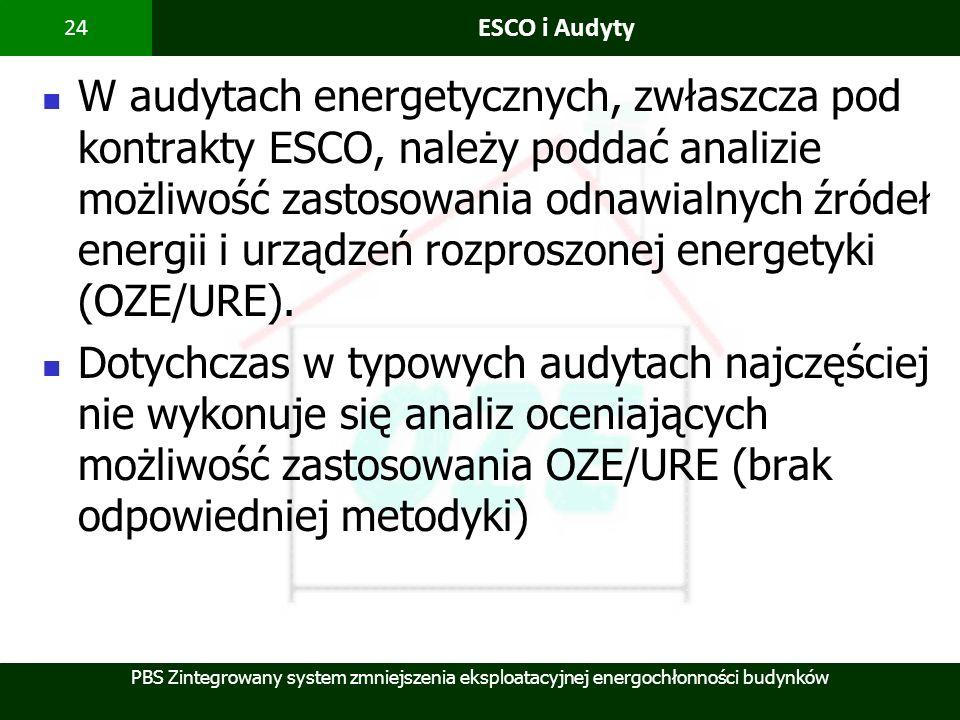 PBS Zintegrowany system zmniejszenia eksploatacyjnej energochłonności budynków 24 ESCO i Audyty W audytach energetycznych, zwłaszcza pod kontrakty ESC
