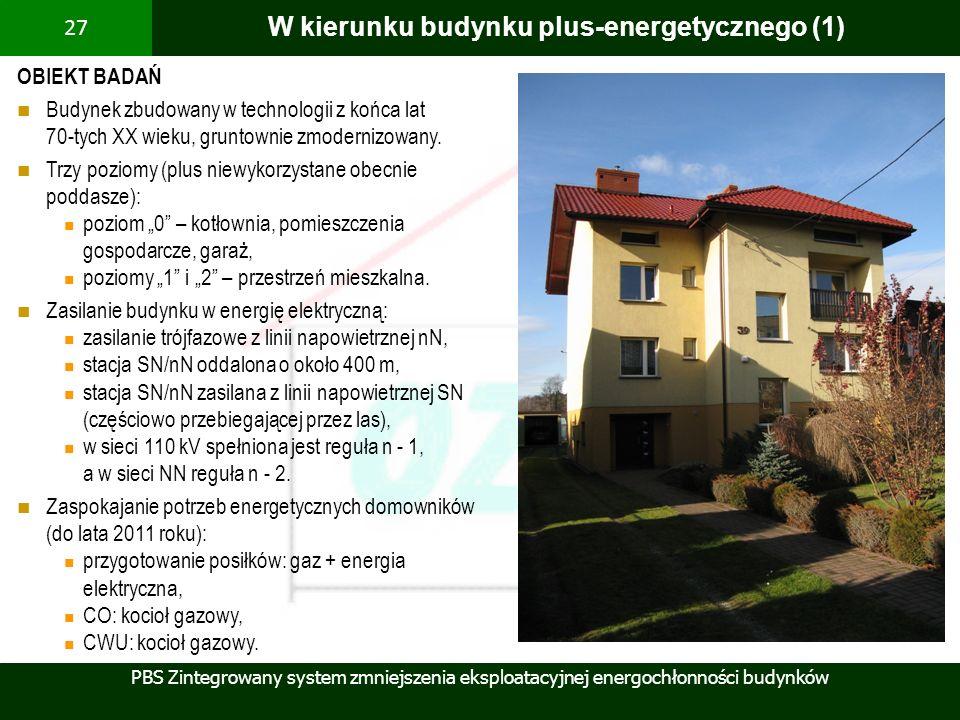 PBS Zintegrowany system zmniejszenia eksploatacyjnej energochłonności budynków 27 W kierunku budynku plus-energetycznego (1) OBIEKT BADAŃ Budynek zbud