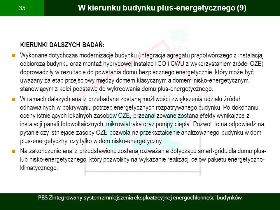 PBS Zintegrowany system zmniejszenia eksploatacyjnej energochłonności budynków 35 W kierunku budynku plus-energetycznego (9) KIERUNKI DALSZYCH BADAŃ: