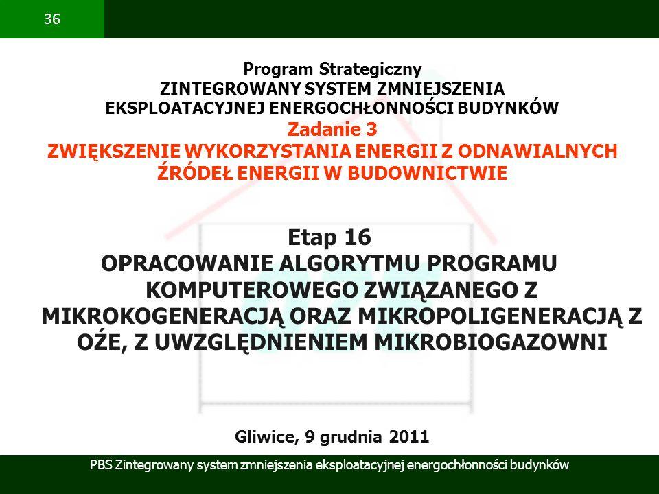 PBS Zintegrowany system zmniejszenia eksploatacyjnej energochłonności budynków 36 Etap 16 OPRACOWANIE ALGORYTMU PROGRAMU KOMPUTEROWEGO ZWIĄZANEGO Z MI
