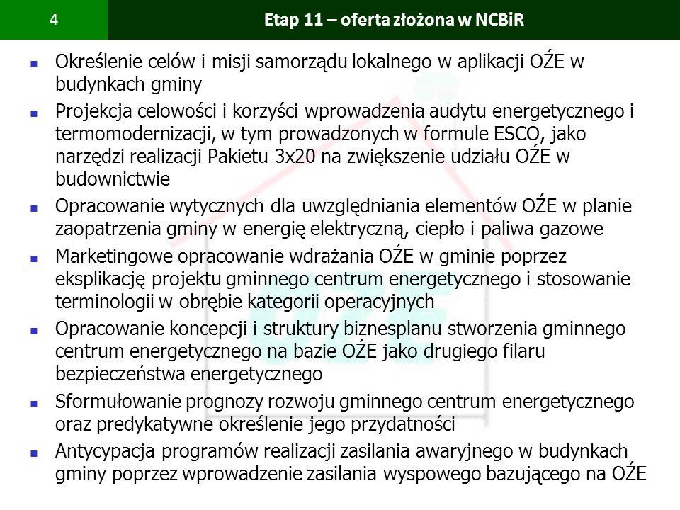 PBS Zintegrowany system zmniejszenia eksploatacyjnej energochłonności budynków 4 Etap 11 – oferta złożona w NCBiR Określenie celów i misji samorządu l