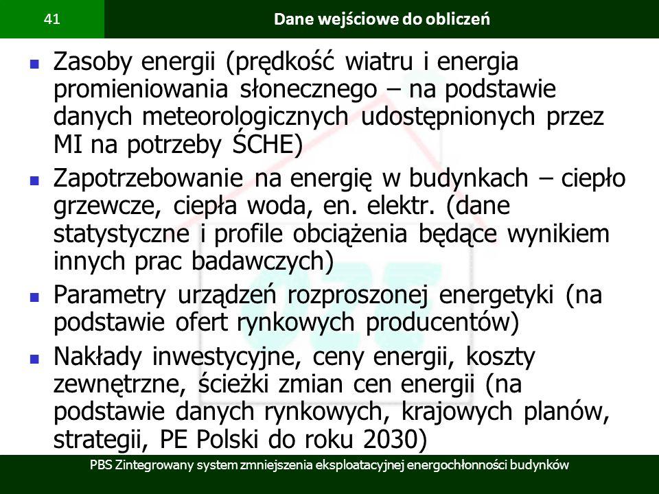PBS Zintegrowany system zmniejszenia eksploatacyjnej energochłonności budynków 41 Dane wejściowe do obliczeń Zasoby energii (prędkość wiatru i energia