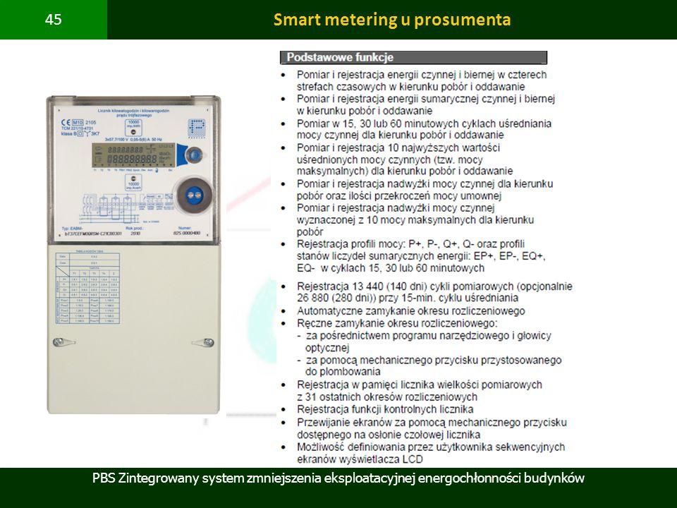 PBS Zintegrowany system zmniejszenia eksploatacyjnej energochłonności budynków 45 Smart metering u prosumenta