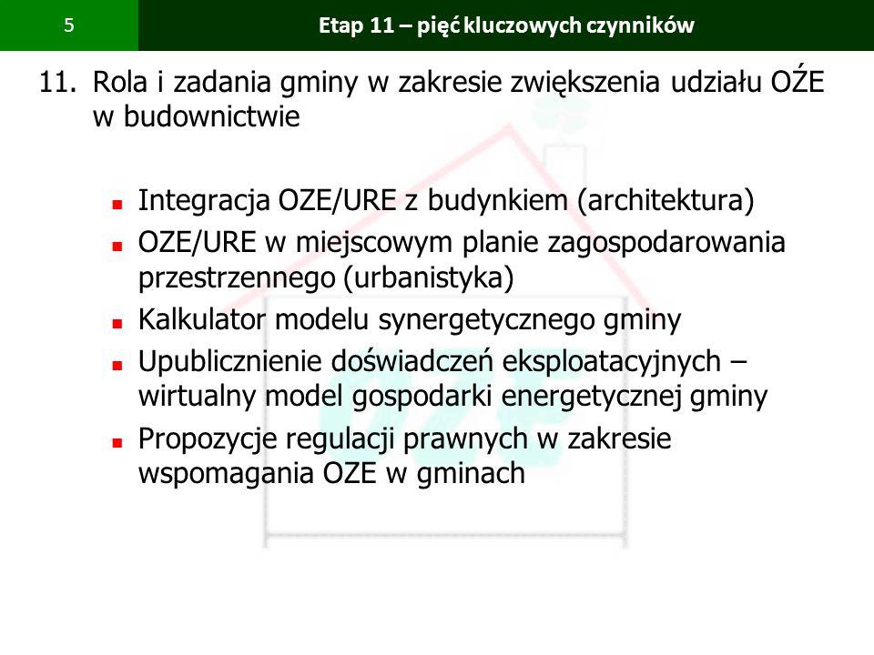 PBS Zintegrowany system zmniejszenia eksploatacyjnej energochłonności budynków 5 Etap 11 – pięć kluczowych czynników 11.Rola i zadania gminy w zakresi