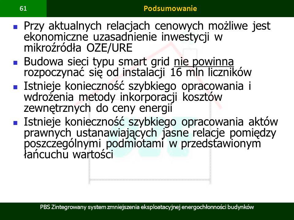 PBS Zintegrowany system zmniejszenia eksploatacyjnej energochłonności budynków 61 Podsumowanie Przy aktualnych relacjach cenowych możliwe jest ekonomi