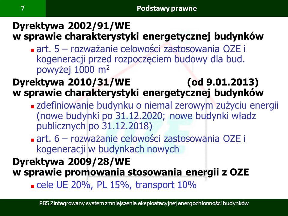PBS Zintegrowany system zmniejszenia eksploatacyjnej energochłonności budynków 7 Podstawy prawne Dyrektywa 2002/91/WE w sprawie charakterystyki energe