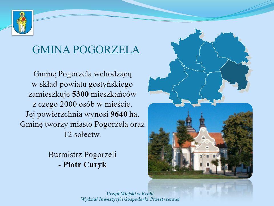 GMINA POGORZELA Urząd Miejski w Krobi Wydział Inwestycji i Gospodarki Przestrzennej Gminę Pogorzela wchodzącą w skład powiatu gostyńskiego zamieszkuje 5300 mieszkańców z czego 2000 osób w mieście.