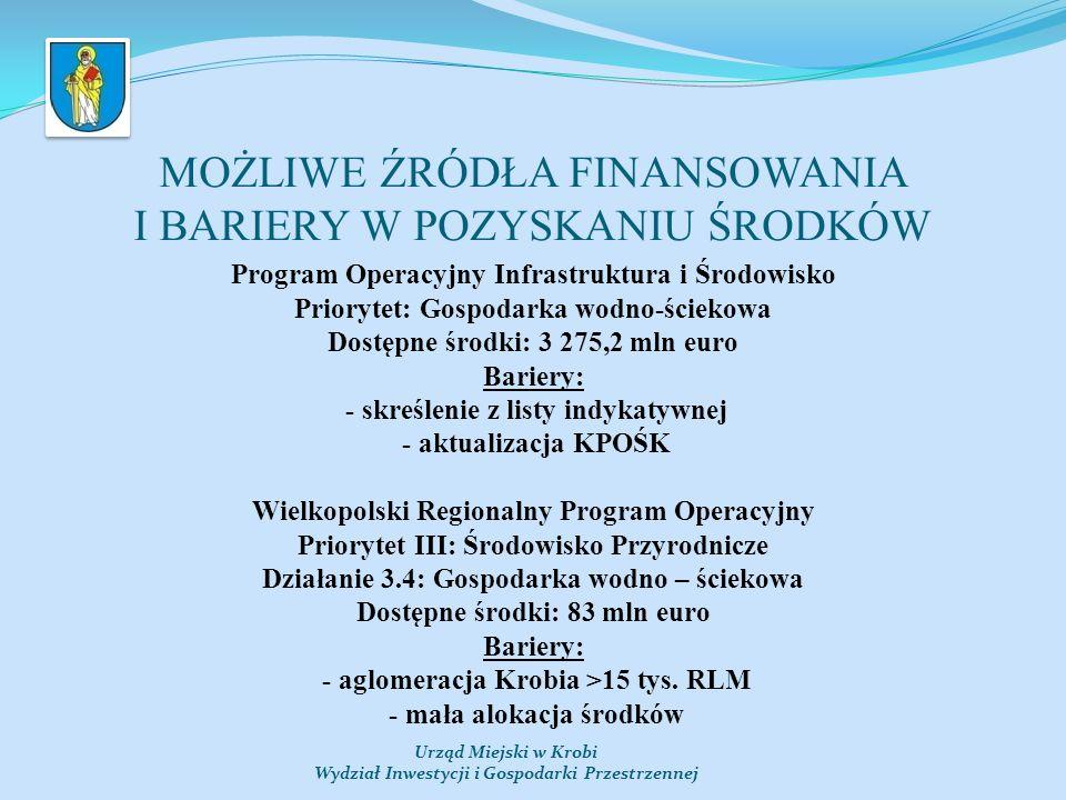 MOŻLIWE ŹRÓDŁA FINANSOWANIA I BARIERY W POZYSKANIU ŚRODKÓW Program Operacyjny Infrastruktura i Środowisko Priorytet: Gospodarka wodno-ściekowa Dostępne środki: 3 275,2 mln euro Bariery: - skreślenie z listy indykatywnej - aktualizacja KPOŚK Wielkopolski Regionalny Program Operacyjny Priorytet III: Środowisko Przyrodnicze Działanie 3.4: Gospodarka wodno – ściekowa Dostępne środki: 83 mln euro Bariery: - aglomeracja Krobia >15 tys.