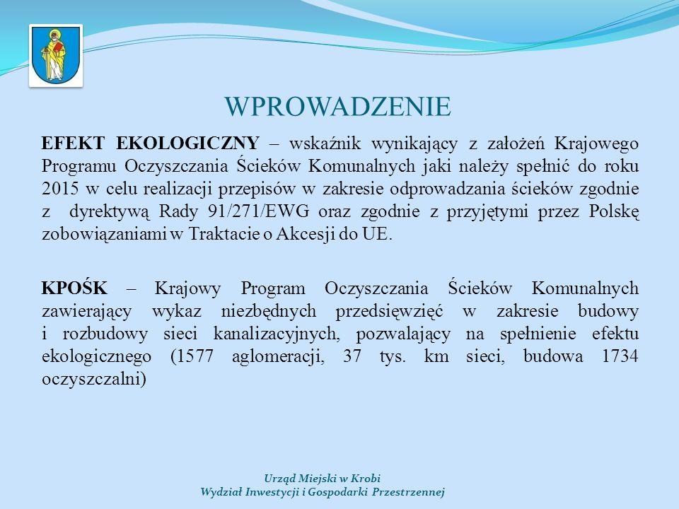 WPROWADZENIE Urząd Miejski w Krobi Wydział Inwestycji i Gospodarki Przestrzennej EFEKT EKOLOGICZNY – wskaźnik wynikający z założeń Krajowego Programu Oczyszczania Ścieków Komunalnych jaki należy spełnić do roku 2015 w celu realizacji przepisów w zakresie odprowadzania ścieków zgodnie z dyrektywą Rady 91/271/EWG oraz zgodnie z przyjętymi przez Polskę zobowiązaniami w Traktacie o Akcesji do UE.