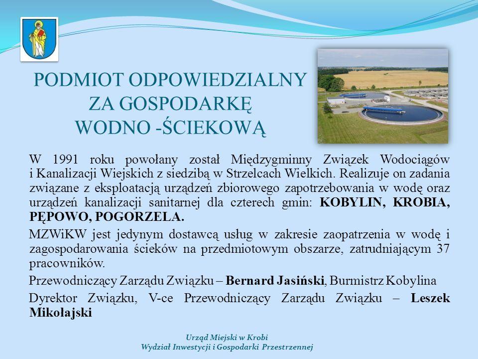 PODMIOT ODPOWIEDZIALNY ZA GOSPODARKĘ WODNO -ŚCIEKOWĄ W 1991 roku powołany został Międzygminny Związek Wodociągów i Kanalizacji Wiejskich z siedzibą w Strzelcach Wielkich.
