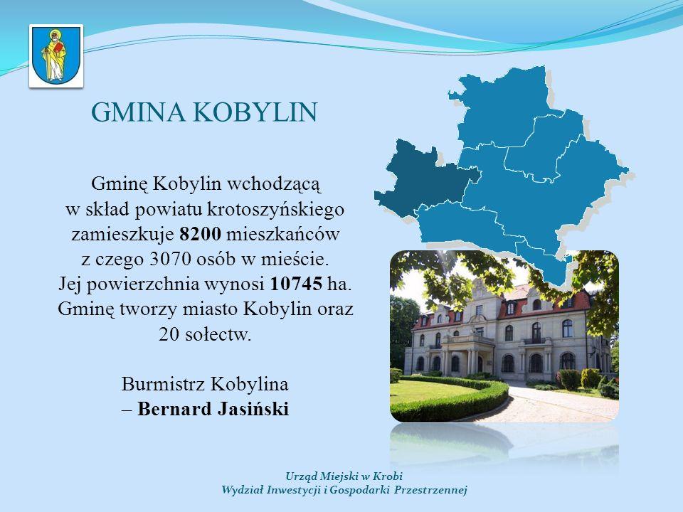GMINA KOBYLIN Urząd Miejski w Krobi Wydział Inwestycji i Gospodarki Przestrzennej Gminę Kobylin wchodzącą w skład powiatu krotoszyńskiego zamieszkuje 8200 mieszkańców z czego 3070 osób w mieście.