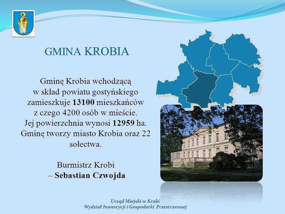 Urząd Miejski w Krobi Wydział Inwestycji i Gospodarki Przestrzennej GMINA KROBIA Gminę Krobia wchodzącą w skład powiatu gostyńskiego zamieszkuje 13100 mieszkańców z czego 4200 osób w mieście.