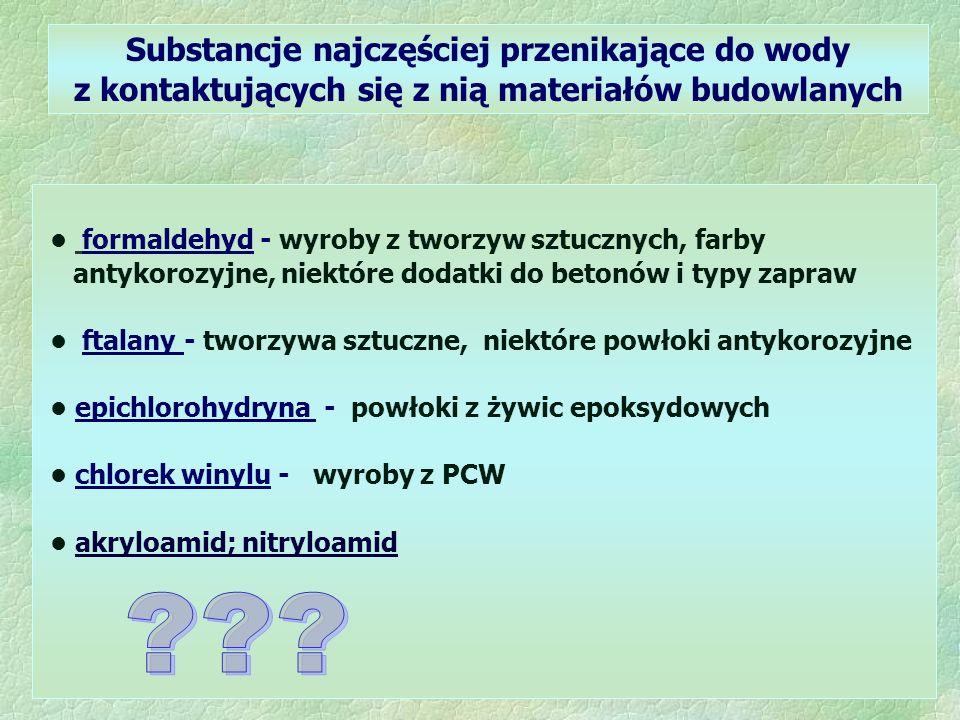 Substancje najczęściej przenikające do wody z kontaktujących się z nią materiałów budowlanych formaldehyd - wyroby z tworzyw sztucznych, farby antykorozyjne, niektóre dodatki do betonów i typy zapraw ftalany - tworzywa sztuczne, niektóre powłoki antykorozyjne epichlorohydryna - powłoki z żywic epoksydowych chlorek winylu - wyroby z PCW akryloamid; nitryloamid