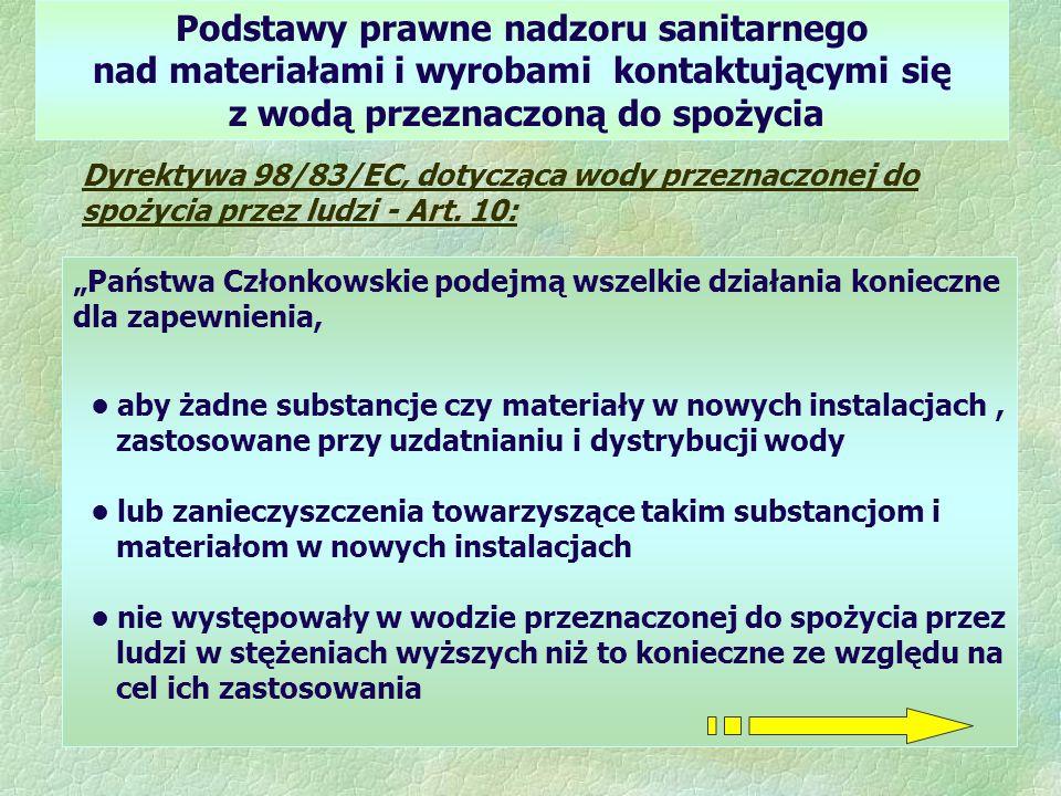 Podstawy prawne nadzoru sanitarnego nad materiałami i wyrobami kontaktującymi się z wodą przeznaczoną do spożycia Dyrektywa 98/83/EC, dotycząca wody p