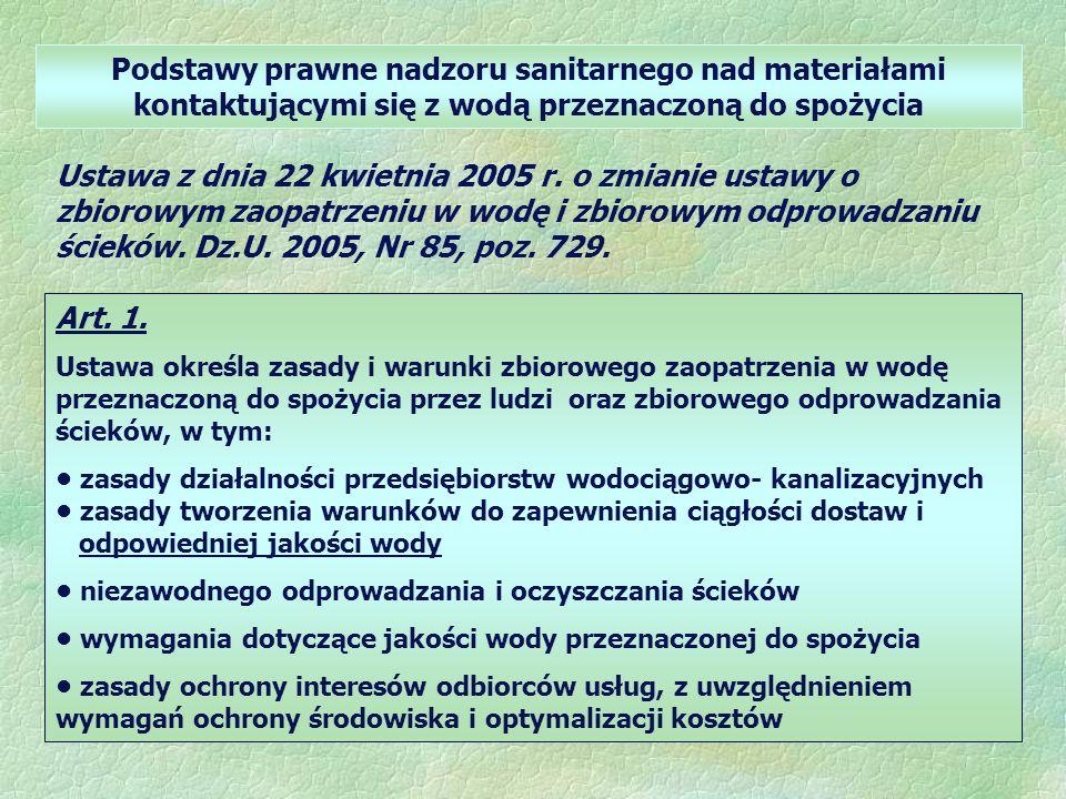 Podstawy prawne nadzoru sanitarnego nad materiałami kontaktującymi się z wodą przeznaczoną do spożycia Ustawa z dnia 22 kwietnia 2005 r.