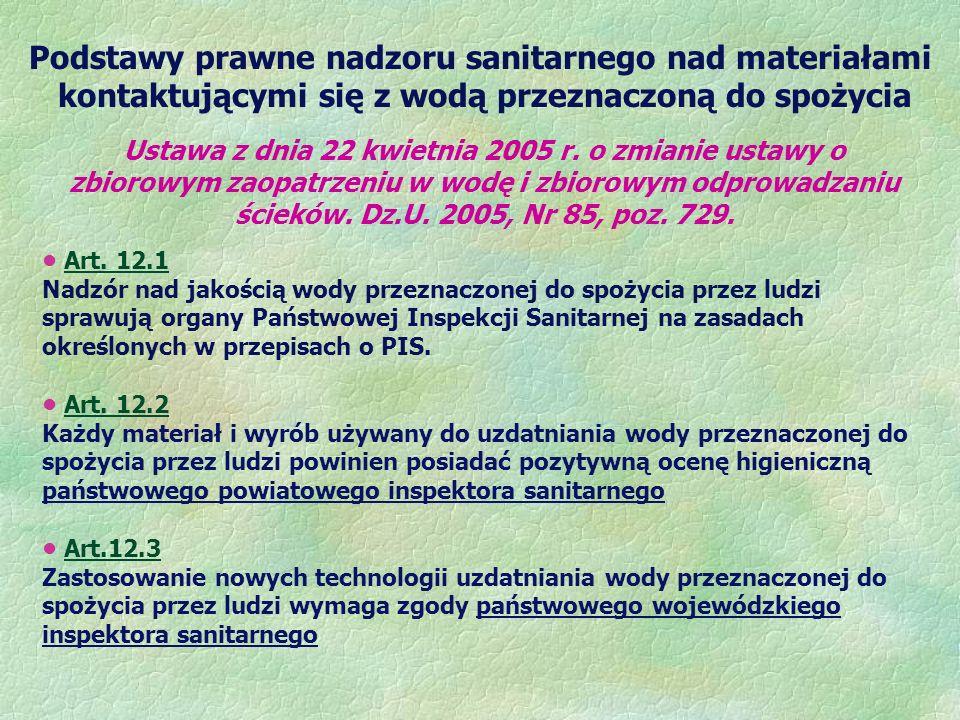 Podstawy prawne nadzoru sanitarnego nad materiałami kontaktującymi się z wodą przeznaczoną do spożycia Ustawa z dnia 22 kwietnia 2005 r. o zmianie ust